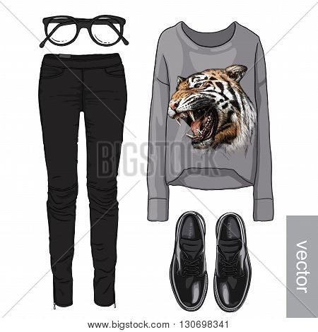 Lady fashion set of autumn, spring season outfit. Illustration stylish and trendy clothing. Cardigan, denim, glasses, sweatshirt, shoes. Vector