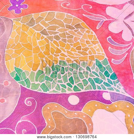 Abstract Hand Painted Leaf On Pink Silk Batik