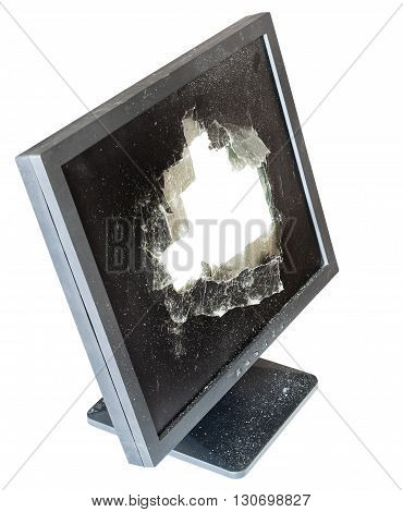 Above View Of Monitor With Cut Out Damaged Screen