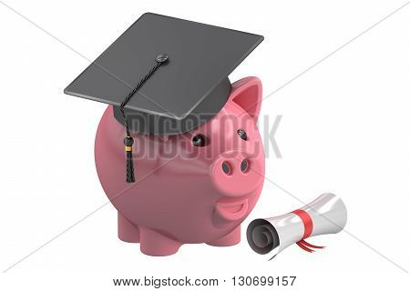 Education Savings Fund with Piggy Bank 3D rendering isolated on white background