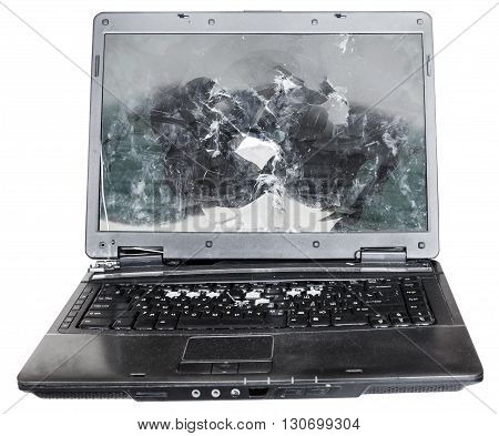 Direct View Of Old Broken Laptop Isolated