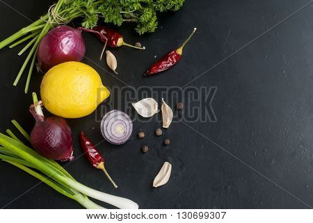 Frame With Fresh Organic Vegetables And Herbs