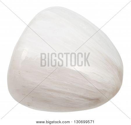Tumbled Scolecite Gemstone Of Isolated On White