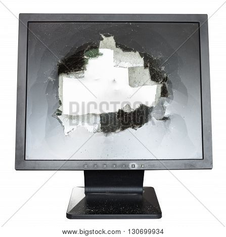 Direct View Of Broken Monitor With Damaged Screen
