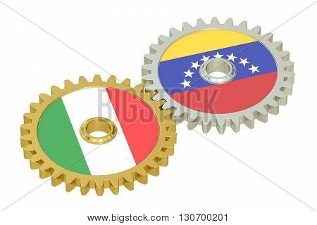 Italian and Venezuelan flags on a gears 3D rendering isolated on white background