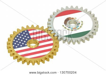 Mexico and United States relations concept flags on a gears. 3D rendering isolated on white background