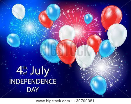 Independence day background with colored balloons and fireworks in the blue sky, USA Independence day theme 4 of july, illustration.