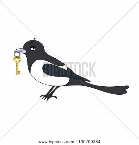 Cartoon vector Illustration of a magpie with key