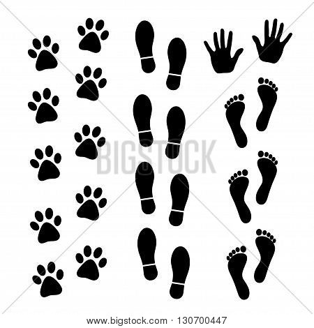 Vector set of black footprints of humans and animals.