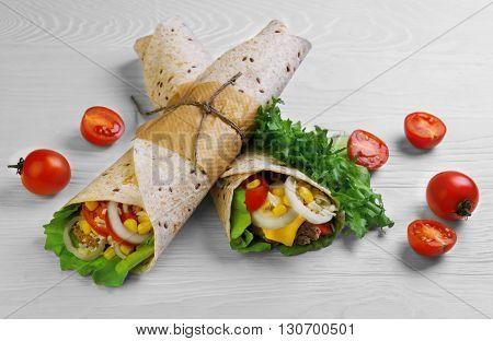 Burrito Wrapped In Tortilla Bread