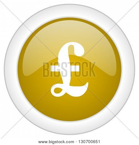 pound icon, golden round glossy button, web and mobile app design illustration
