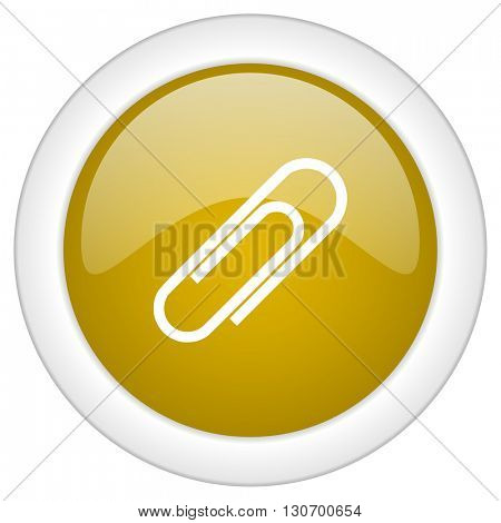 paperclip icon, golden round glossy button, web and mobile app design illustration
