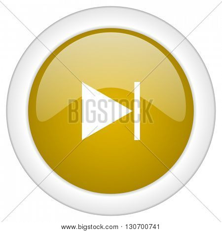 next icon, golden round glossy button, web and mobile app design illustration