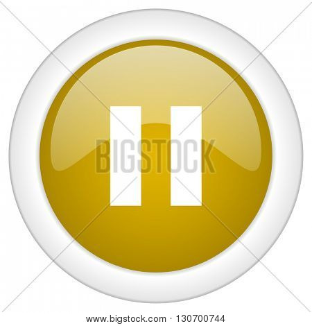 pause icon, golden round glossy button, web and mobile app design illustration