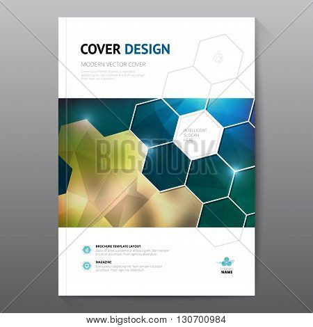 Blue annual report Leaflet Brochure Flyer template A4 size design, book cover layout design, Abstract blue presentation templates.