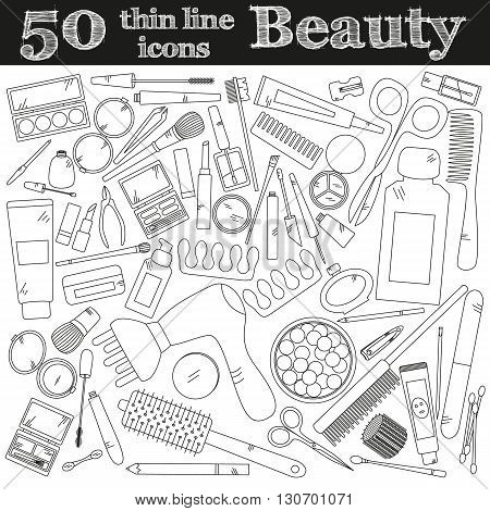 Tools for makeup. Set of 50 cosmetic icons in thin line. Vector collection for beauty design.