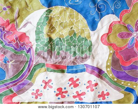 Abstract Colour Floral Ornament On Gray Silk Batik
