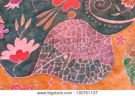 Abstract Floral Ornament On Black And Brown Batik