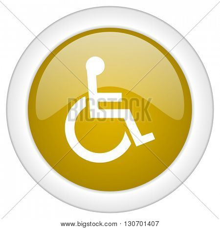 wheelchair icon, golden round glossy button, web and mobile app design illustration