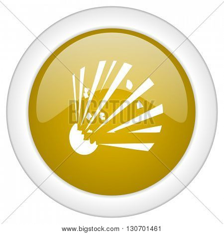 bomb icon, golden round glossy button, web and mobile app design illustration