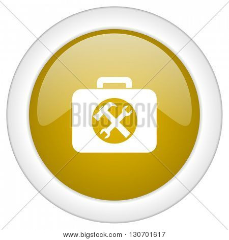toolkit icon, golden round glossy button, web and mobile app design illustration