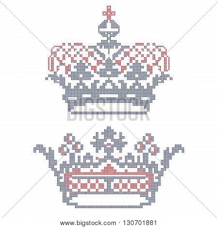 Design elements for cross-stitch embroidery. Crowns. Vector illustration.