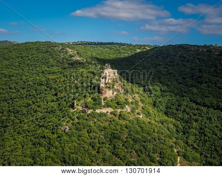 Mountain landscape, view of the Montfort Castle in Upper Galilee, Israel