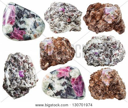 Various Corundum Crystal In Rocks Isolated