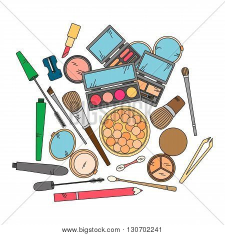 Cosmetics and fashion background with make up artist objects - lipstick, eyeshadow, brush, powder and other.  Vector illustration in bright color.