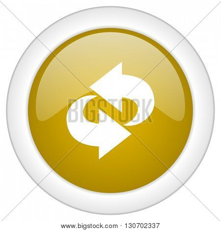 rotation icon, golden round glossy button, web and mobile app design illustration