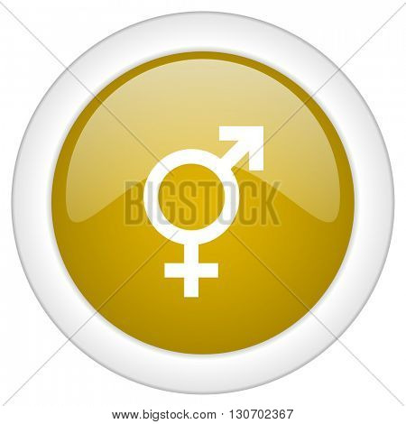 sex icon, golden round glossy button, web and mobile app design illustration