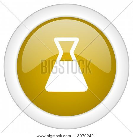 laboratory icon, golden round glossy button, web and mobile app design illustration
