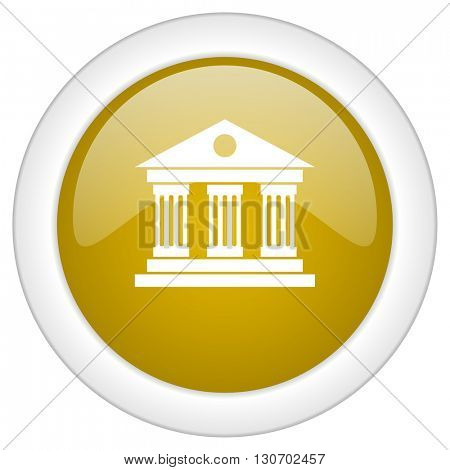 museum icon, golden round glossy button, web and mobile app design illustration