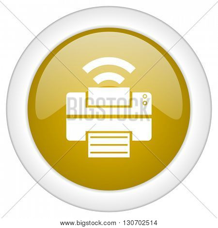 printer icon, golden round glossy button, web and mobile app design illustration