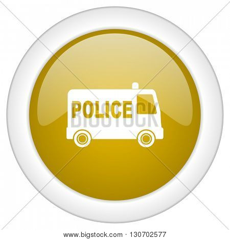 police icon, golden round glossy button, web and mobile app design illustration