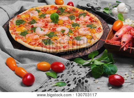 Pizza Shrimps Food Photo