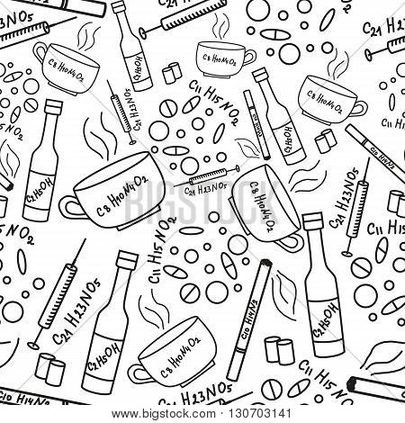 Seamless pattern with addiction and drugs. Doodle illustration.