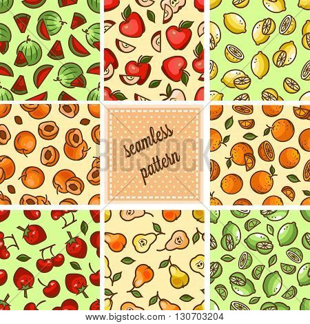 Seamless fruit backgrounds set- vector patterns with strawberry, cherry, lime, orange, citrus, pear. Vector illustration. Funny fruit. Cute Seamless Patterns.