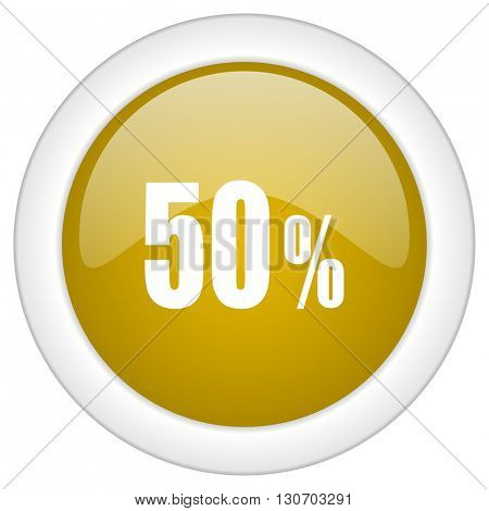 50 percent icon, golden round glossy button, web and mobile app design illustration