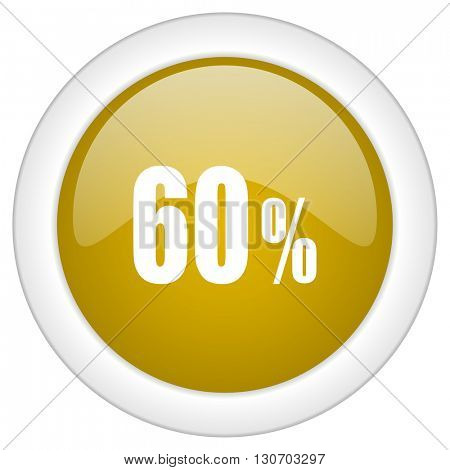 60 percent icon, golden round glossy button, web and mobile app design illustration