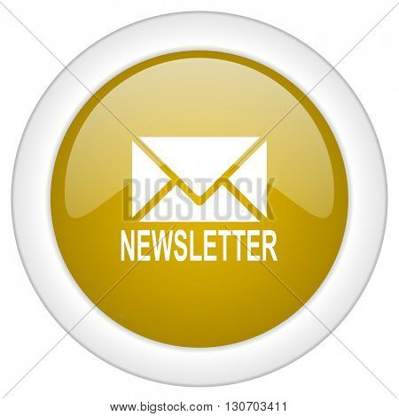 newsletter icon, golden round glossy button, web and mobile app design illustration