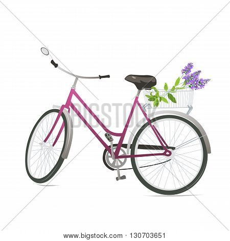 Bicycle with flowers in a basket. Vector illustration.