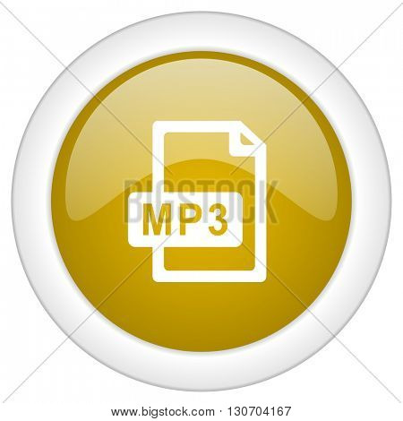 mp3 file icon, golden round glossy button, web and mobile app design illustration