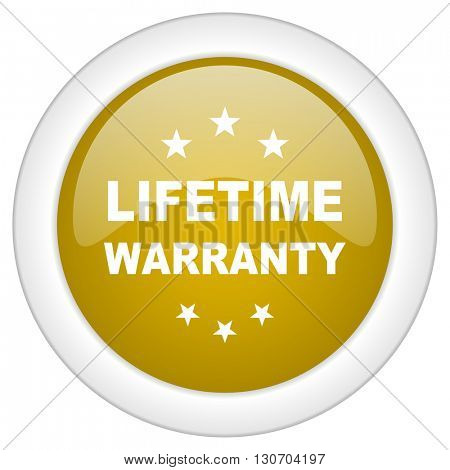 lifetime warranty icon, golden round glossy button, web and mobile app design illustration