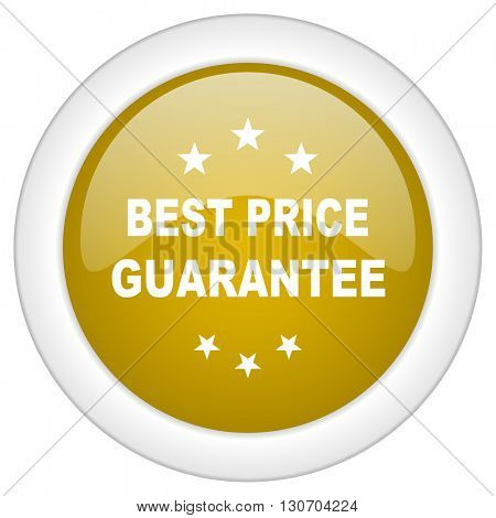 best price guarantee icon, golden round glossy button, web and mobile app design illustration