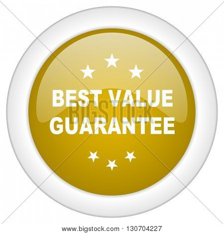 best value guarantee icon, golden round glossy button, web and mobile app design illustration