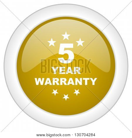 warranty guarantee 5 year icon, golden round glossy button, web and mobile app design illustration