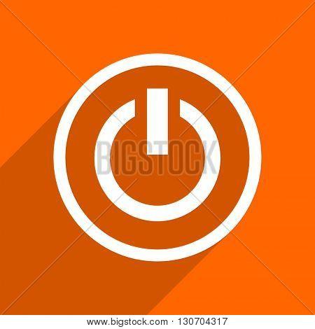 power icon. Orange flat button. Web and mobile app design illustration