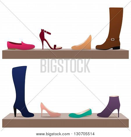 Different types of women's shoes on shelves: ballets moccasins boots high heel shoes.