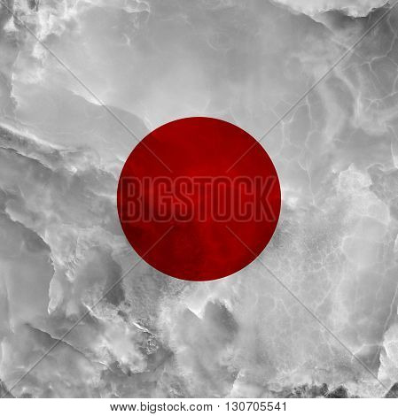 Flag of Japan. Amazing stone texture with coloration.